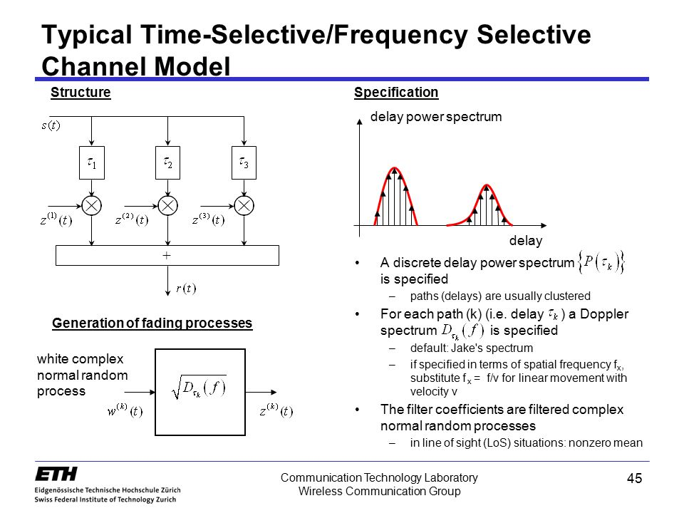 Communication Technology Laboratory Wireless Communication Group Typical Time-Selective/Frequency Selective Channel Model A discrete delay power spect