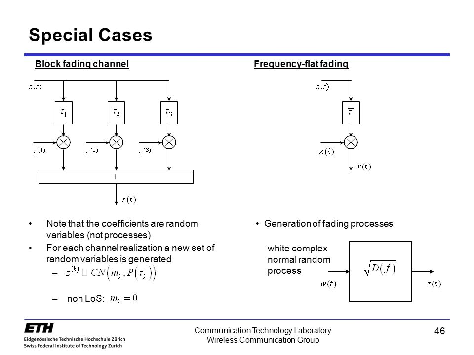 Communication Technology Laboratory Wireless Communication Group Special Cases + Block fading channel Note that the coefficients are random variables