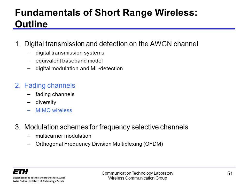 51 Communication Technology Laboratory Wireless Communication Group Fundamentals of Short Range Wireless: Outline 1.Digital transmission and detection