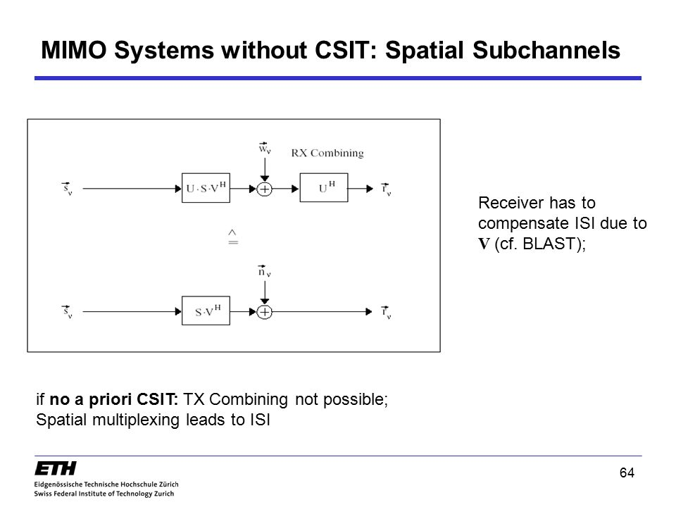 64 MIMO Systems without CSIT: Spatial Subchannels if no a priori CSIT: TX Combining not possible; Spatial multiplexing leads to ISI Receiver has to co