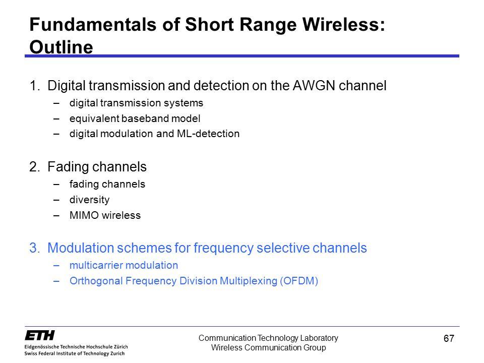 67 Communication Technology Laboratory Wireless Communication Group Fundamentals of Short Range Wireless: Outline 1.Digital transmission and detection