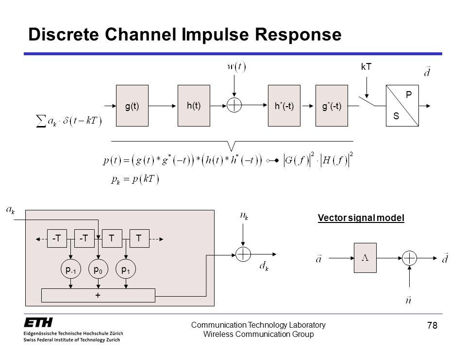 78 Communication Technology Laboratory Wireless Communication Group P Discrete Channel Impulse Response g(t) h(t) h * (-t)g * (-t) S kT -T TT p0p0 p -