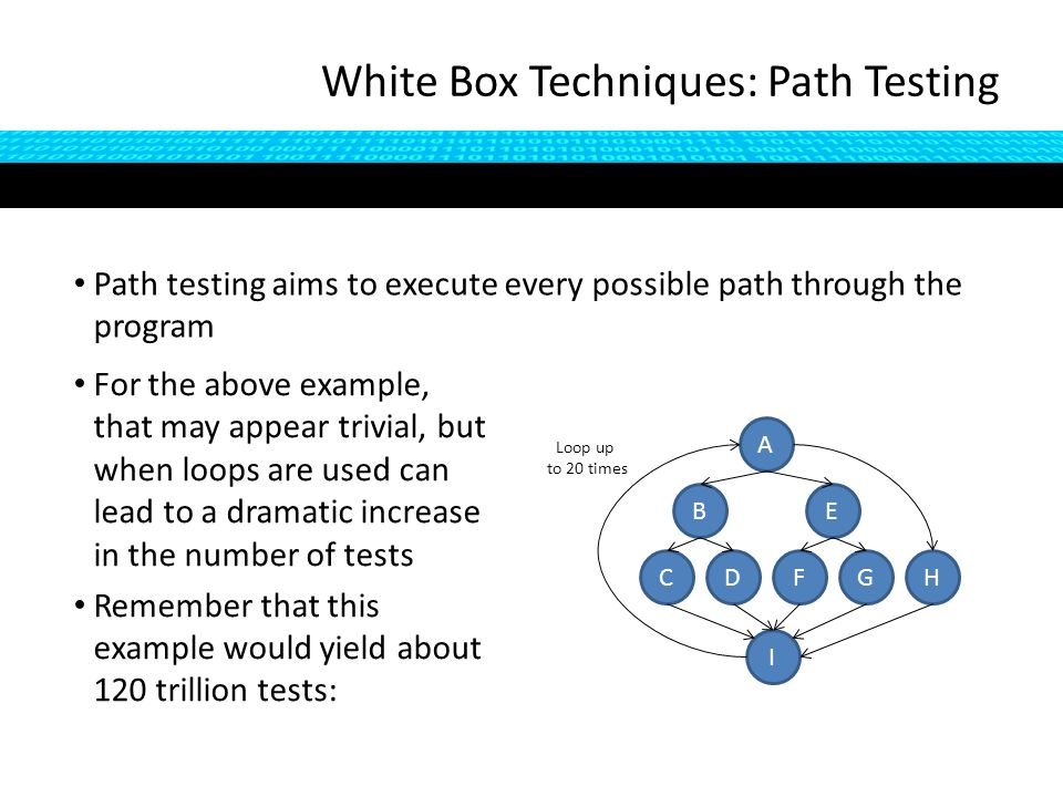 Path testing aims to execute every possible path through the program White Box Techniques: Path Testing For the above example, that may appear trivial, but when loops are used can lead to a dramatic increase in the number of tests Remember that this example would yield about 120 trillion tests: B C A D I E FGH Loop up to 20 times
