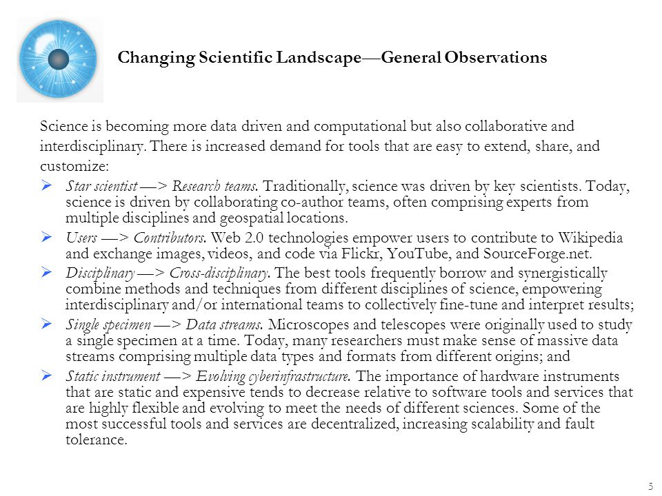 Changing Scientific Landscape—General Observations Science is becoming more data driven and computational but also collaborative and interdisciplinary.