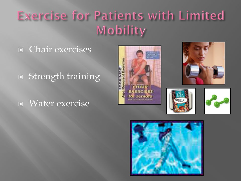  Chair exercises  Strength training  Water exercise