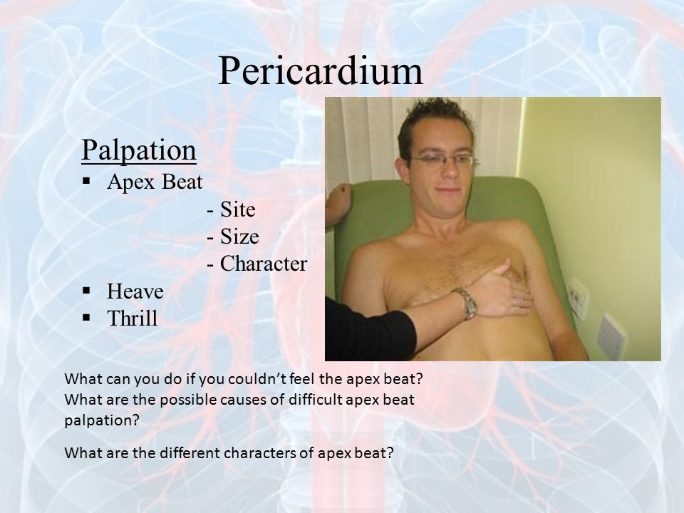 Palpation  Apex Beat - Site - Size - Character  Heave  Thrill What can you do if you couldn't feel the apex beat? What are the possible causes of d