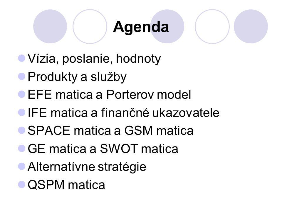 Agenda Vízia, poslanie, hodnoty Produkty a služby EFE matica a Porterov model IFE matica a finančné ukazovatele SPACE matica a GSM matica GE matica a SWOT matica Alternatívne stratégie QSPM matica