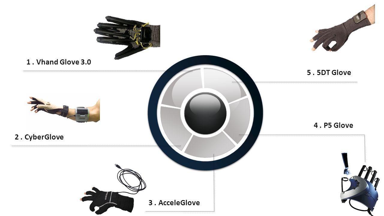 1. Vhand Glove 3.0 2. CyberGlove 3. AcceleGlove 4. P5 Glove 5. 5DT Glove