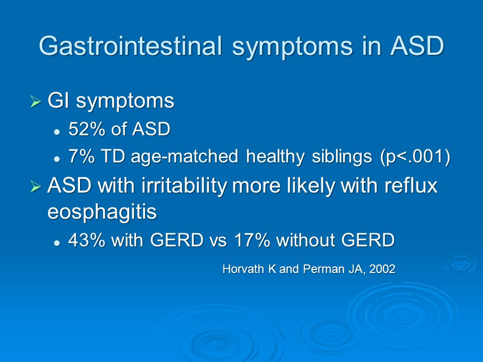 Gastrointestinal symptoms in ASD  GI symptoms 52% of ASD 52% of ASD 7% TD age-matched healthy siblings (p<.001) 7% TD age-matched healthy siblings (p