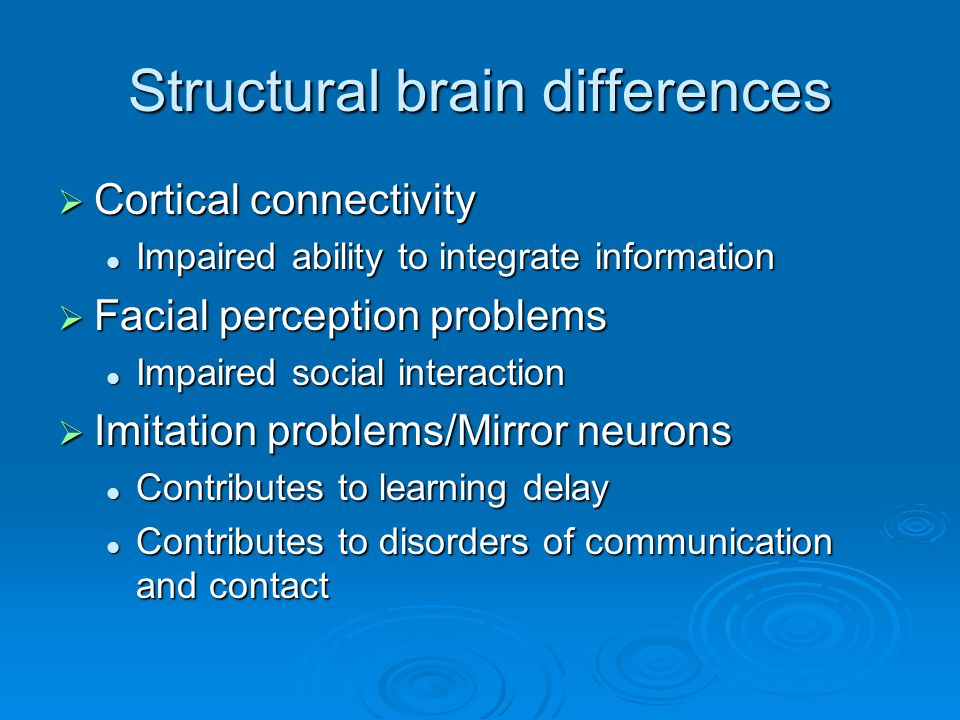 Structural brain differences  Cortical connectivity Impaired ability to integrate information Impaired ability to integrate information  Facial perc