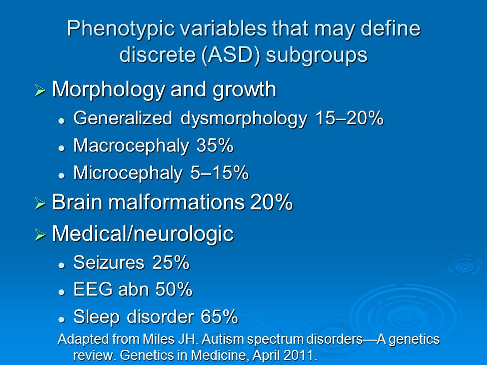 Phenotypic variables that may define discrete (ASD) subgroups  Morphology and growth Generalized dysmorphology 15–20% Generalized dysmorphology 15–20
