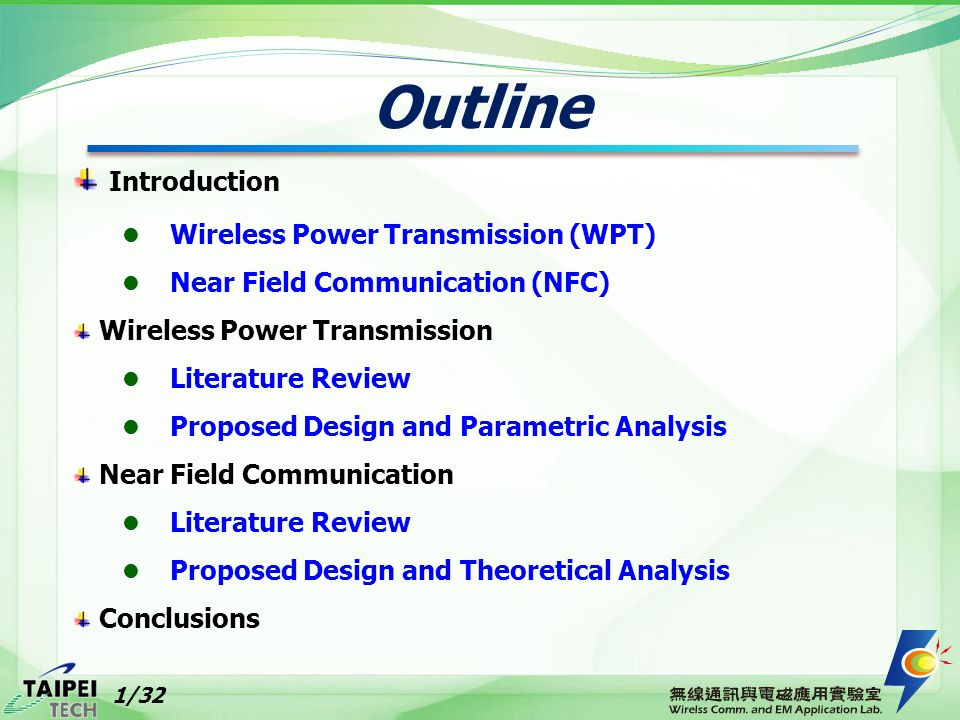 Efficiency Calculation for WPT CE: Conversion Efficiency Conversion Efficiency Total Transmission Efficiency 12/32