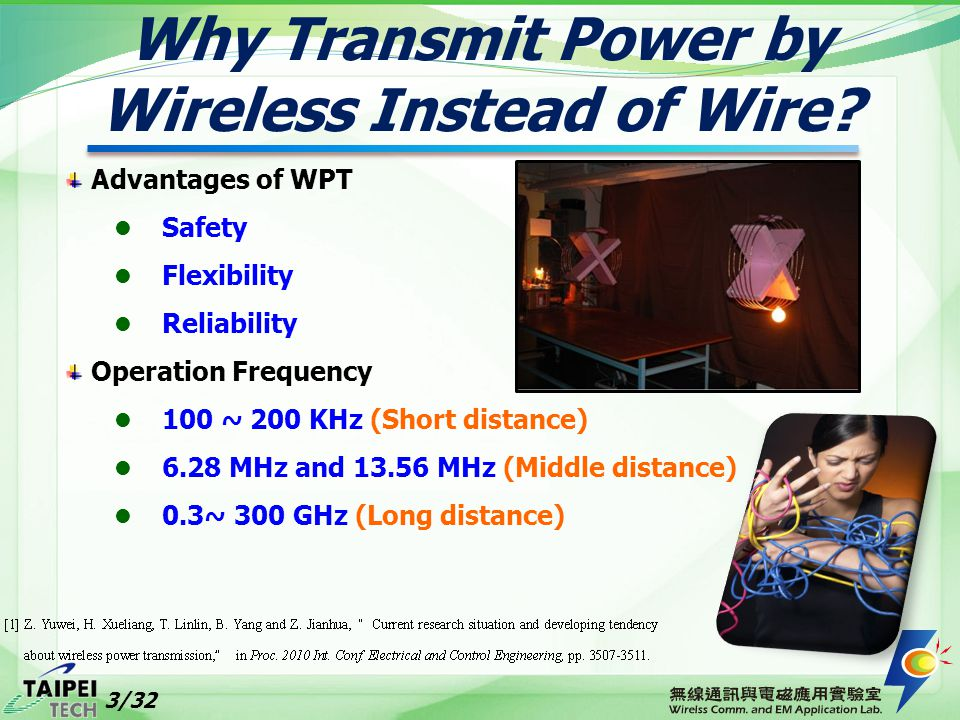 Advantages of WPT Safety Flexibility Reliability Operation Frequency 100 ~ 200 KHz (Short distance) 6.28 MHz and 13.56 MHz (Middle distance) 0.3~ 300