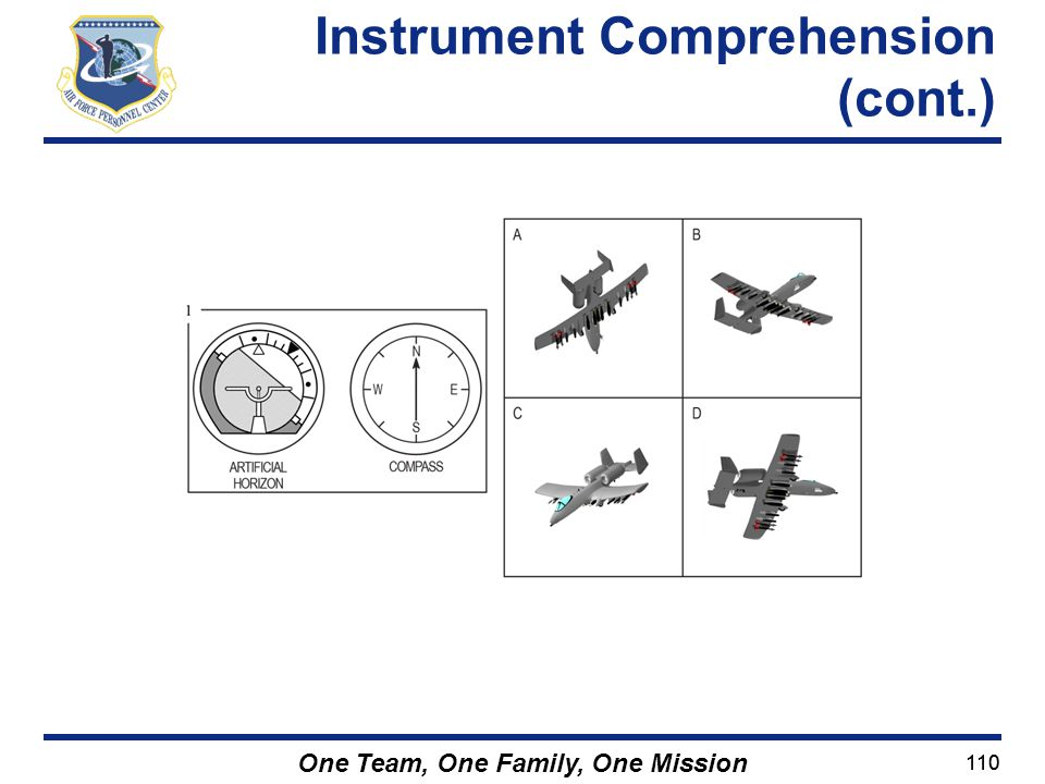 110 One Team, One Family, One Mission Instrument Comprehension (cont.)