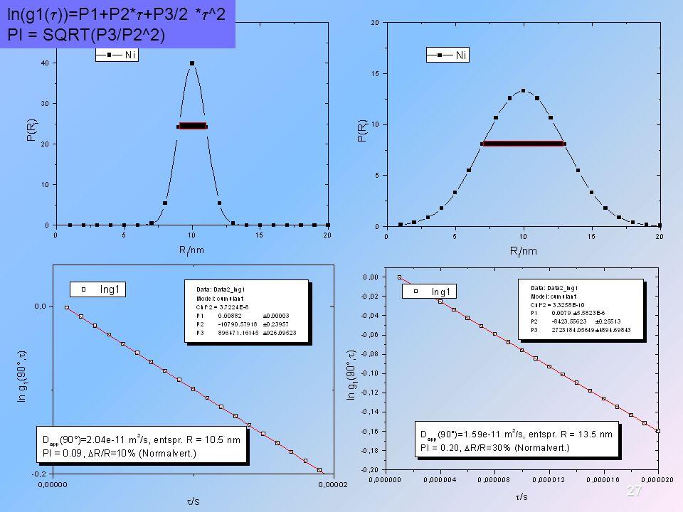 27 ln(g1(  ))=P1+P2*  +P3/2 *  ^2 PI = SQRT(P3/P2^2)