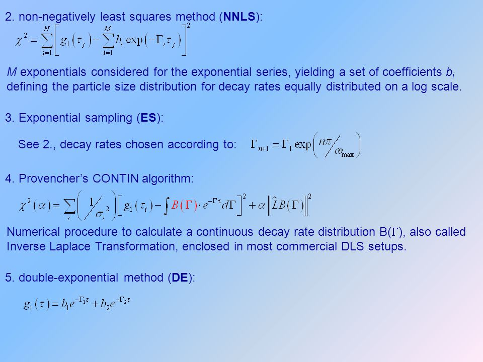 2. non-negatively least squares method (NNLS): M exponentials considered for the exponential series, yielding a set of coefficients b i defining the p