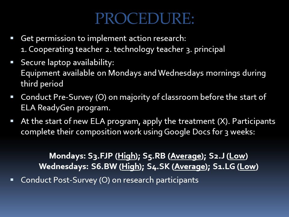 PROCEDURE:  Get permission to implement action research: 1. Cooperating teacher 2. technology teacher 3. principal  Secure laptop availability: Equi