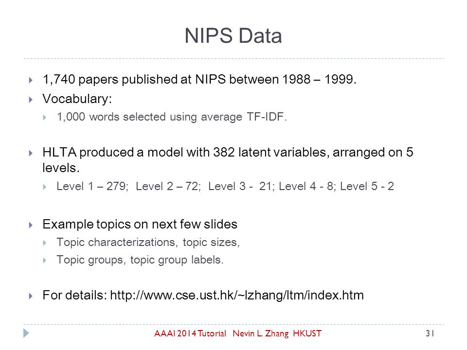AAAI 2014 Tutorial Nevin L. Zhang HKUST31  1,740 papers published at NIPS between 1988 – 1999.