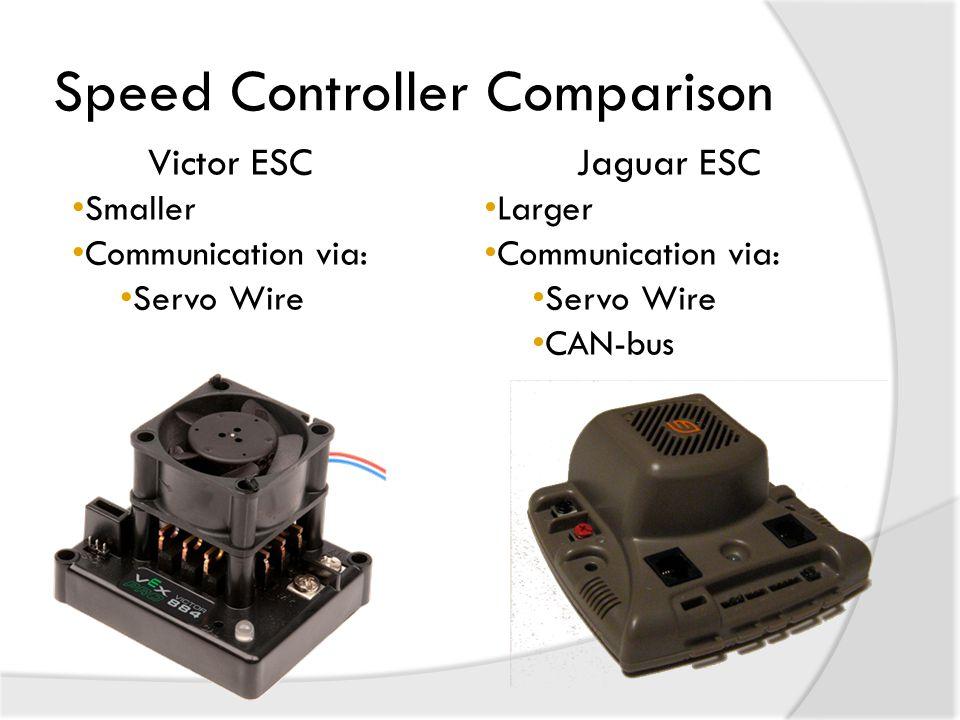 Speed Controller Comparison Jaguar ESC Larger Communication via: Servo Wire CAN-bus Victor ESC Smaller Communication via: Servo Wire