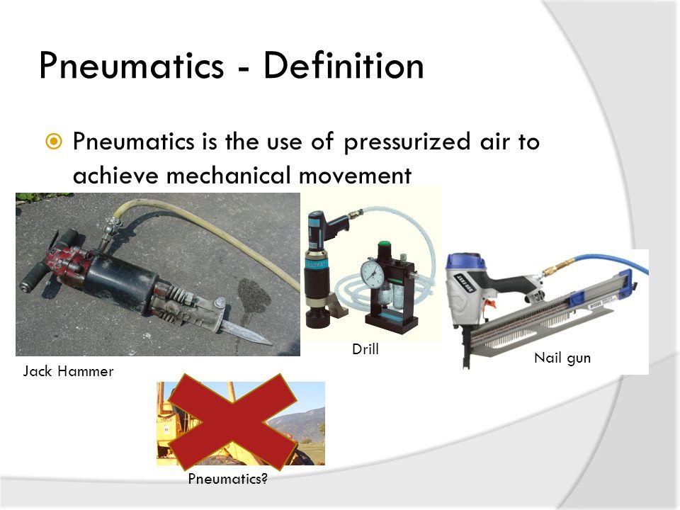 Pneumatics - Definition  Pneumatics is the use of pressurized air to achieve mechanical movement Jack Hammer Nail gun Drill Pneumatics?