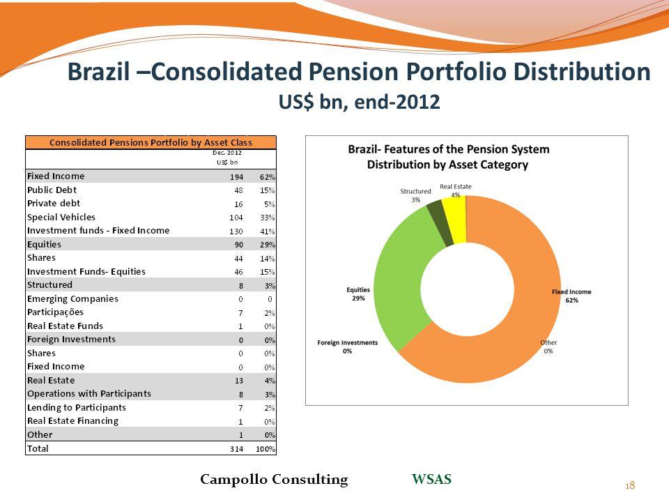 Brazil –Consolidated Pension Portfolio Distribution US$ bn, end-2012 18 Campollo Consulting WSAS