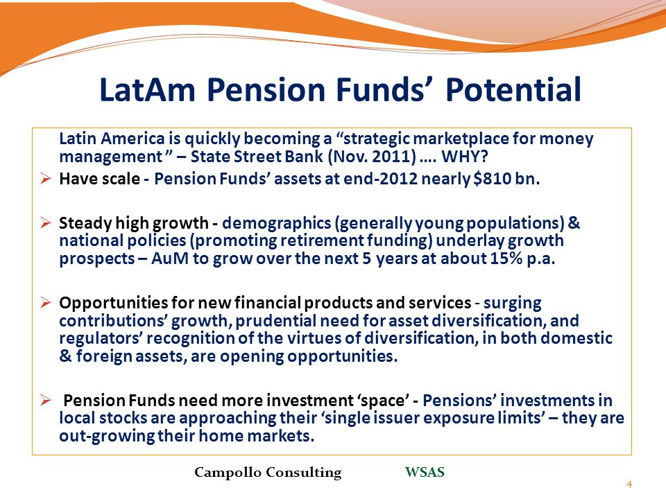 """LatAm Pension Funds' Potential Latin America is quickly becoming a """"strategic marketplace for money management """" – State Street Bank (Nov. 2011) …. WH"""