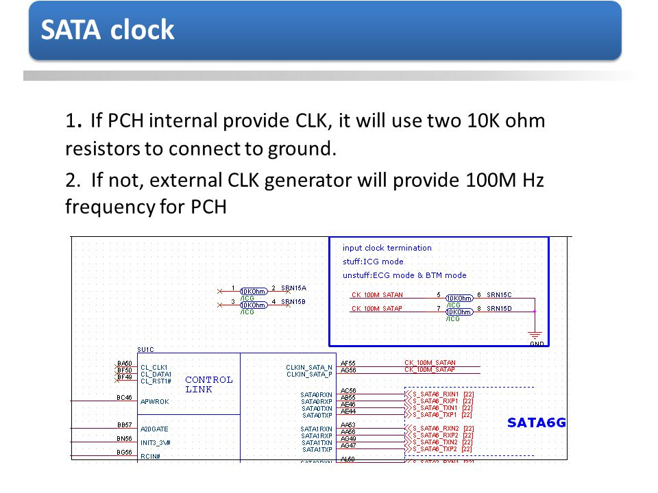 1. If PCH internal provide CLK, it will use two 10K ohm resistors to connect to ground. 2. If not, external CLK generator will provide 100M Hz frequen