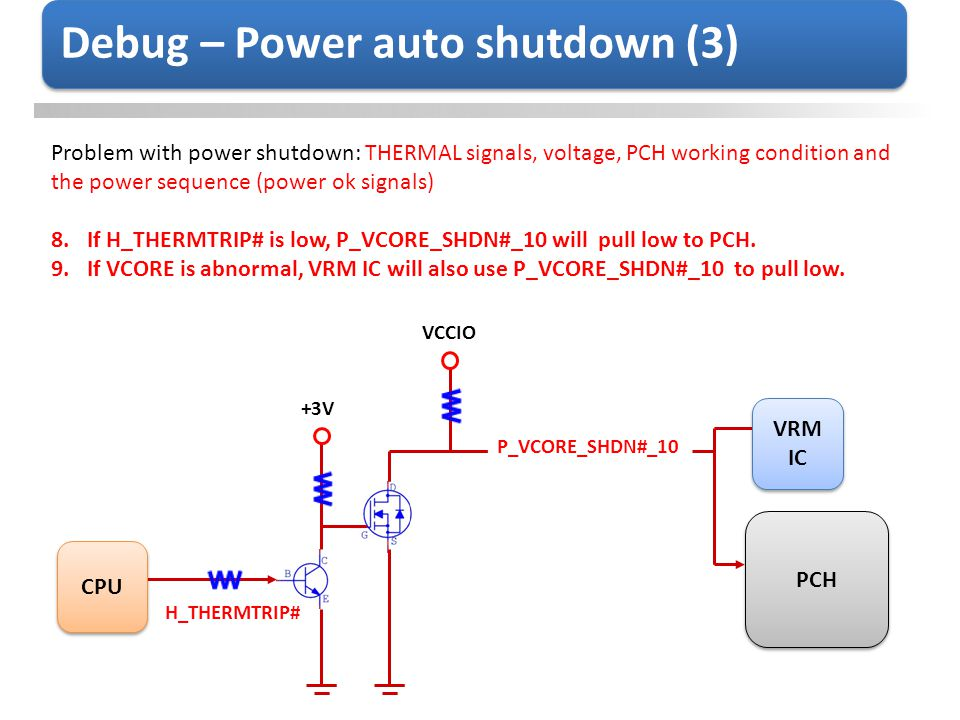 Debug – Power auto shutdown (3) Problem with power shutdown: THERMAL signals, voltage, PCH working condition and the power sequence (power ok signals)