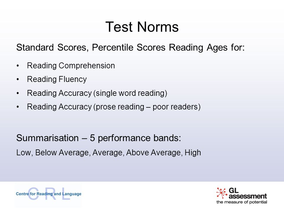 Test Norms Standard Scores, Percentile Scores Reading Ages for: Reading Comprehension Reading Fluency Reading Accuracy (single word reading) Reading Accuracy (prose reading – poor readers) Summarisation – 5 performance bands: Low, Below Average, Average, Above Average, High