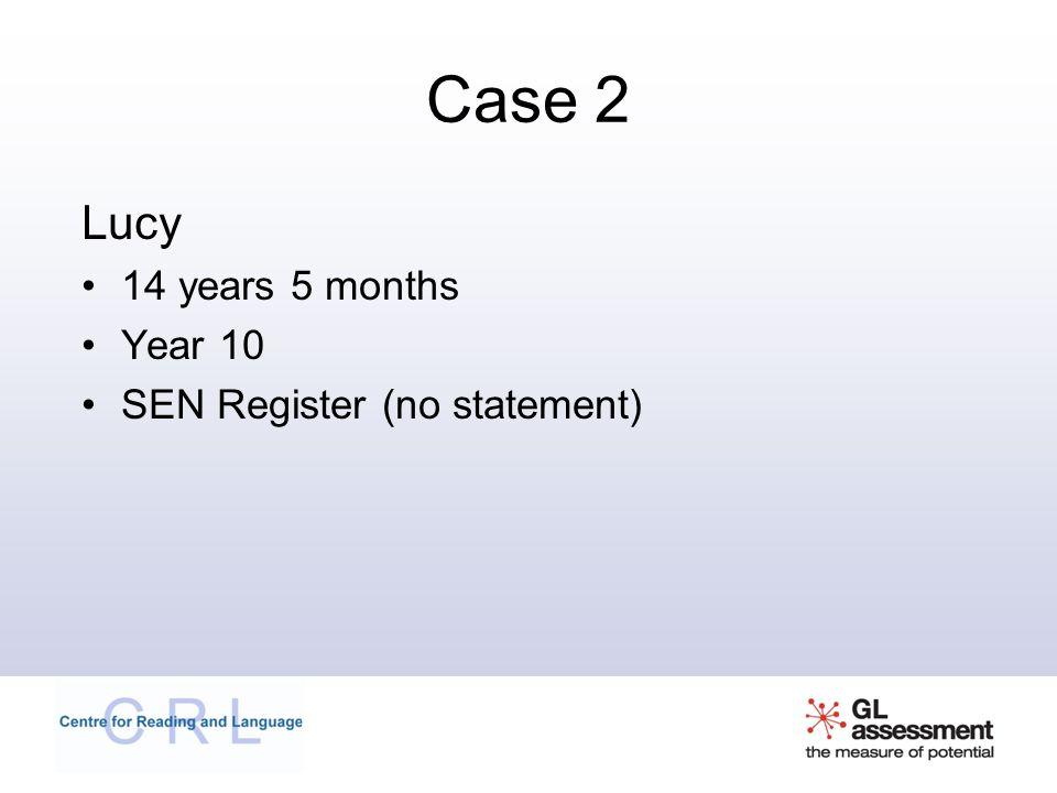 Case 2 Lucy 14 years 5 months Year 10 SEN Register (no statement)
