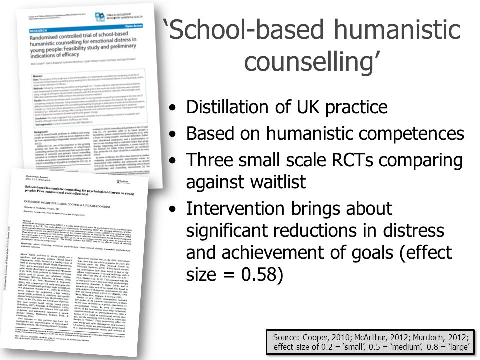 'School-based humanistic counselling' Distillation of UK practice Based on humanistic competences Three small scale RCTs comparing against waitlist In