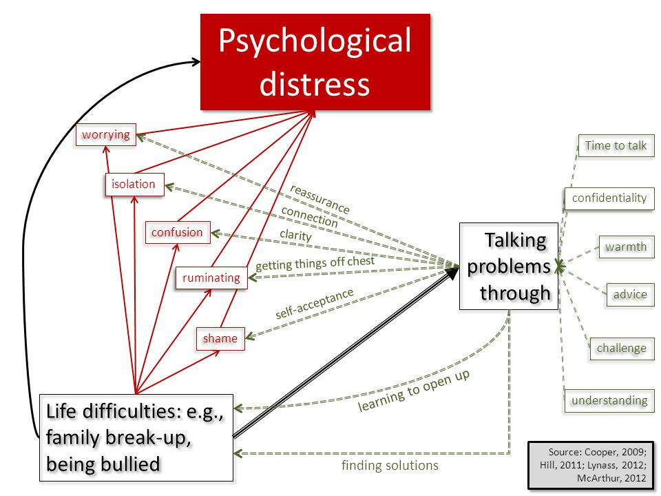 Life difficulties: e.g., family break-up, being bullied Life difficulties: e.g., family break-up, being bullied Psychological distress isolation confu