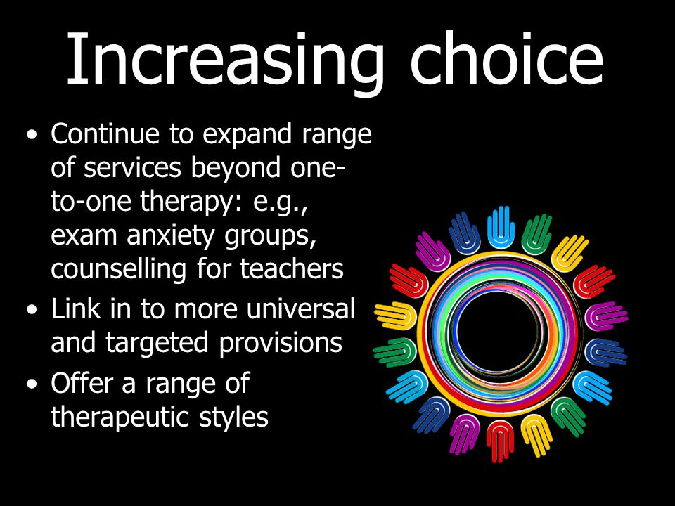 Increasing choice Continue to expand range of services beyond one- to-one therapy: e.g., exam anxiety groups, counselling for teachers Link in to more