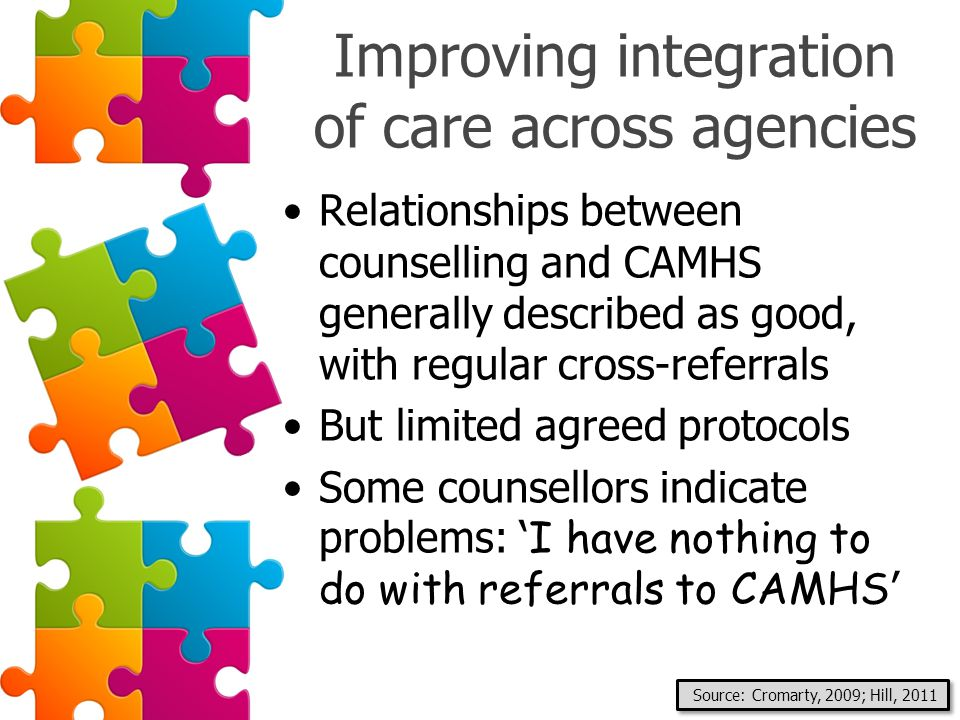 Improving integration of care across agencies Relationships between counselling and CAMHS generally described as good, with regular cross-referrals Bu
