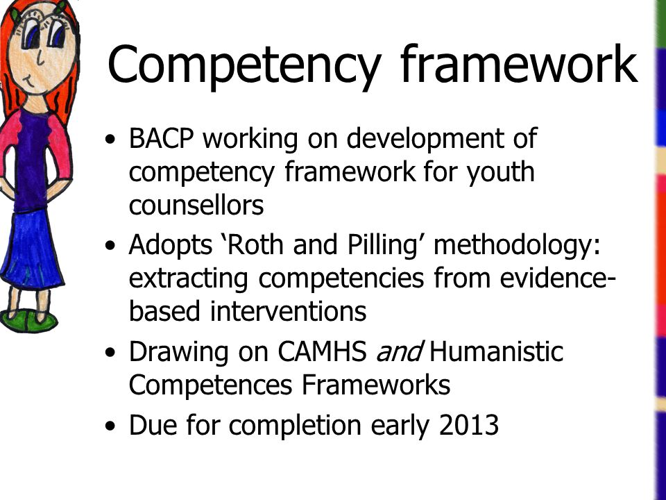 Competency framework BACP working on development of competency framework for youth counsellors Adopts 'Roth and Pilling' methodology: extracting compe