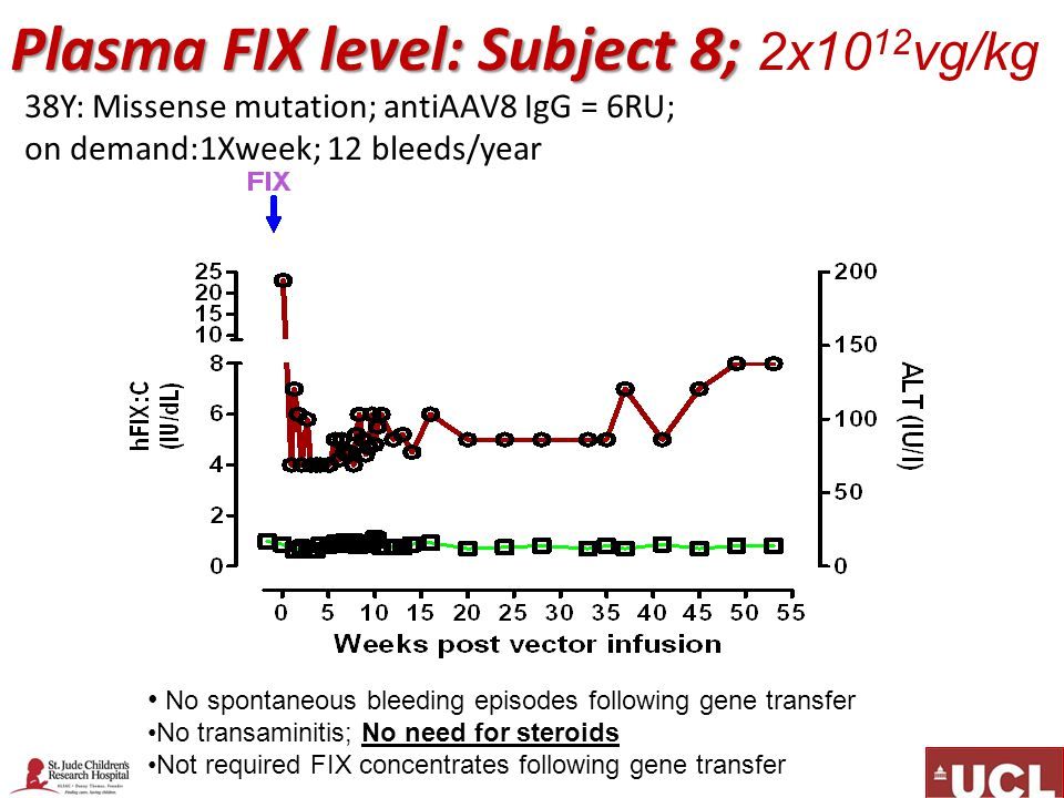 Plasma FIX level: Subject 8; Plasma FIX level: Subject 8; 2x10 12 vg/kg No spontaneous bleeding episodes following gene transfer No transaminitis; No need for steroids Not required FIX concentrates following gene transfer 38Y: Missense mutation; antiAAV8 IgG = 6RU; on demand:1Xweek; 12 bleeds/year