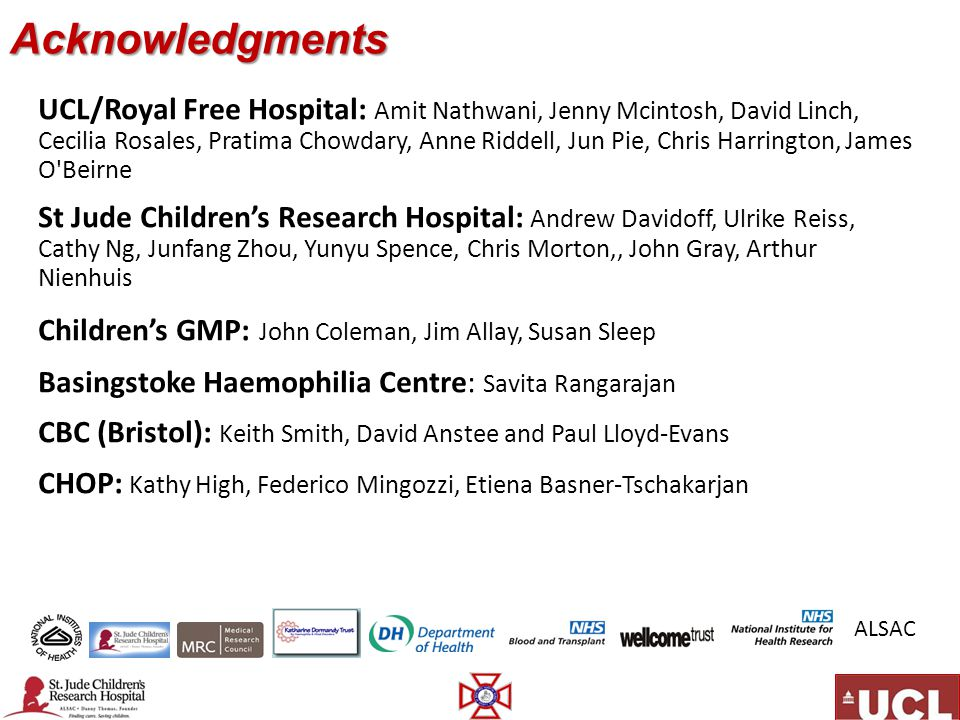 Acknowledgments UCL/Royal Free Hospital: Amit Nathwani, Jenny Mcintosh, David Linch, Cecilia Rosales, Pratima Chowdary, Anne Riddell, Jun Pie, Chris Harrington, James O Beirne St Jude Children's Research Hospital: Andrew Davidoff, Ulrike Reiss, Cathy Ng, Junfang Zhou, Yunyu Spence, Chris Morton,, John Gray, Arthur Nienhuis Children's GMP: John Coleman, Jim Allay, Susan Sleep Basingstoke Haemophilia Centre: Savita Rangarajan CBC (Bristol): Keith Smith, David Anstee and Paul Lloyd-Evans CHOP: Kathy High, Federico Mingozzi, Etiena Basner-Tschakarjan ALSAC