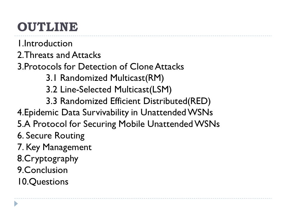 OUTLINE 1.Introduction 2.Threats and Attacks 3.Protocols for Detection of Clone Attacks 3.1 Randomized Multicast(RM) 3.2 Line-Selected Multicast(LSM) 3.3 Randomized Efficient Distributed(RED) 4.Epidemic Data Survivability in Unattended WSNs 5.A Protocol for Securing Mobile Unattended WSNs 6.