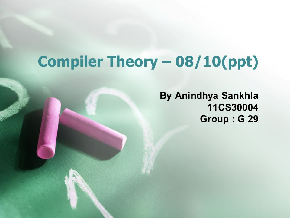 Compiler Theory – 08/10(ppt) By Anindhya Sankhla 11CS30004 Group : G 29