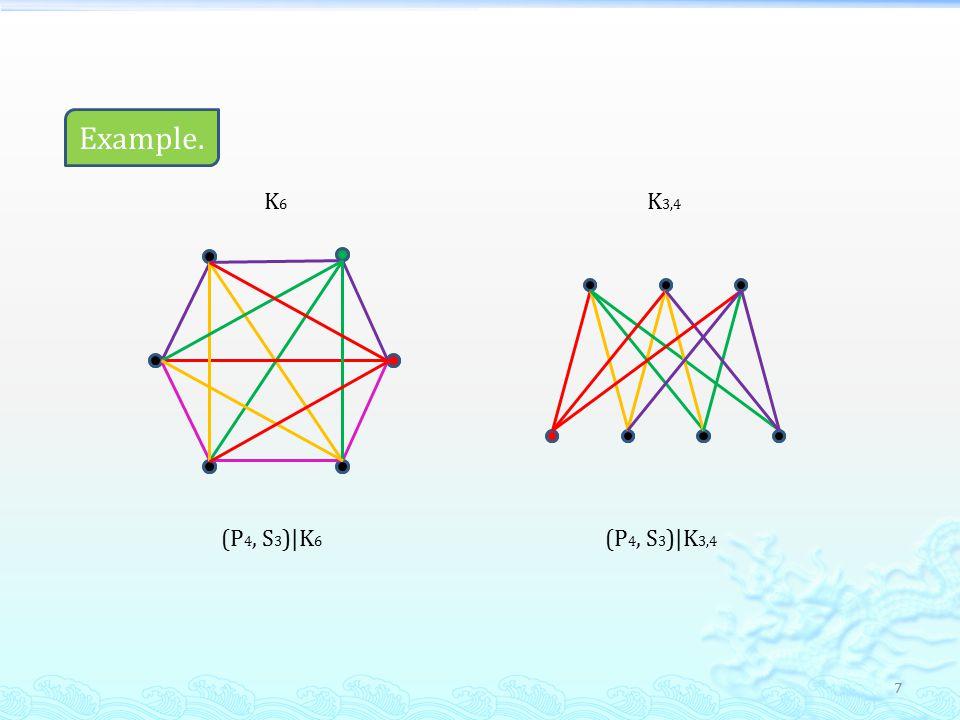 7 Example. (P 4, S 3 )|K 6 K6K6 K 3,4 (P 4, S 3 )|K 3,4