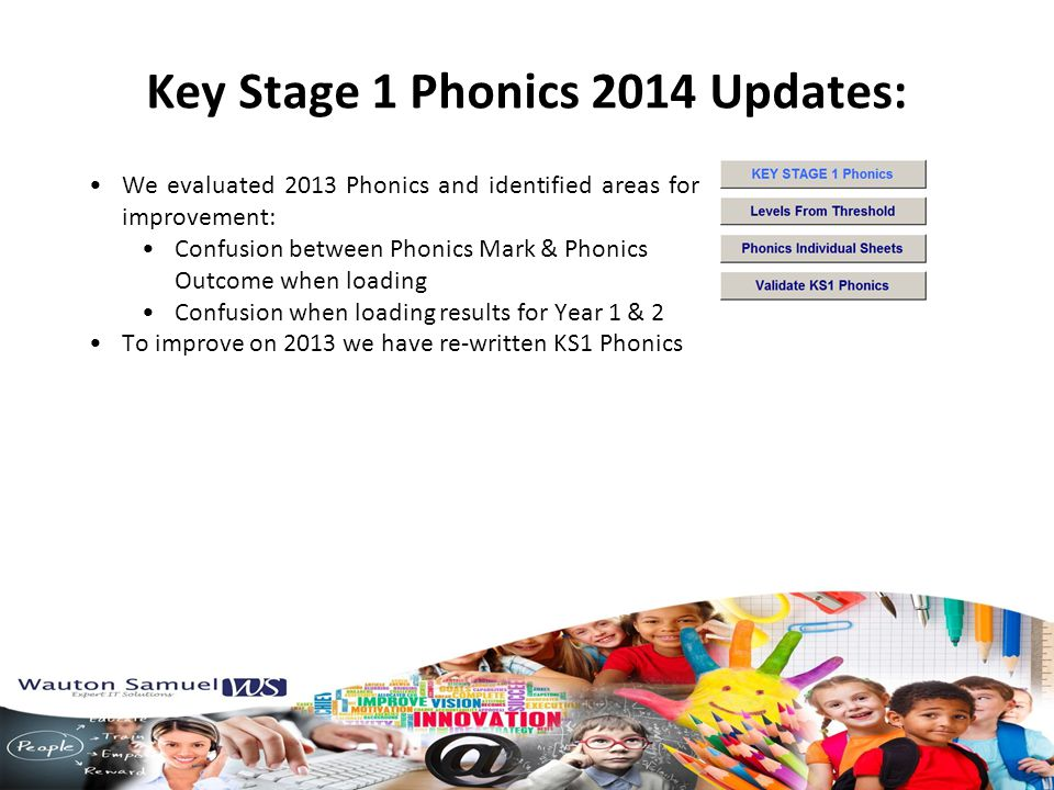 Key Stage 1 Phonics 2014 Updates: We evaluated 2013 Phonics and identified areas for improvement: Confusion between Phonics Mark & Phonics Outcome when loading Confusion when loading results for Year 1 & 2 To improve on 2013 we have re-written KS1 Phonics