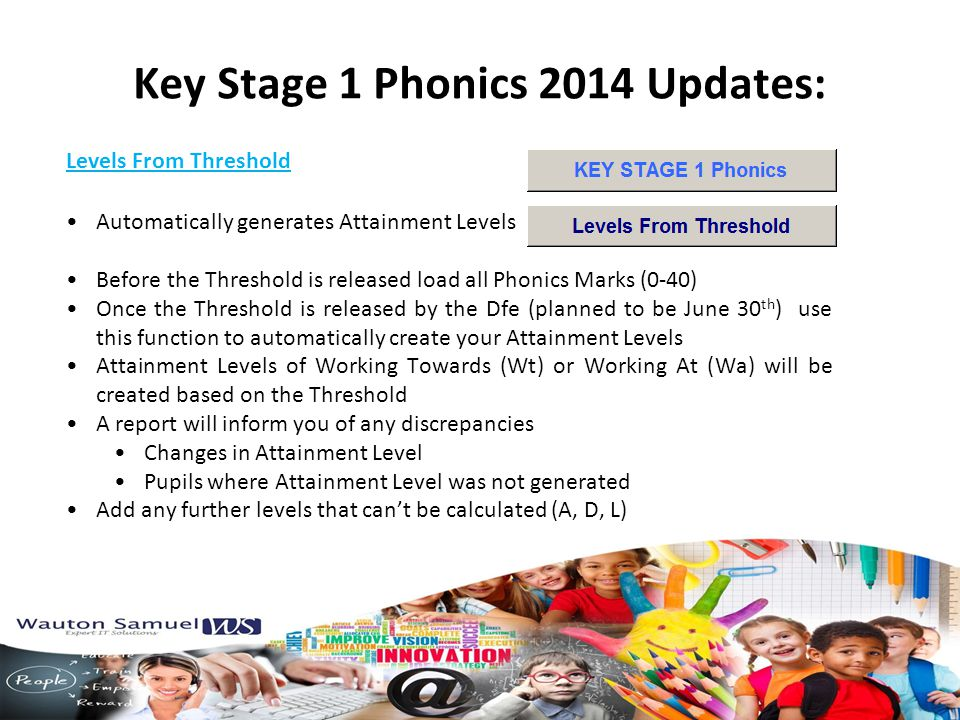 Levels From Threshold Key Stage 1 Phonics 2014 Updates: Automatically generates Attainment Levels Before the Threshold is released load all Phonics Marks (0-40) Once the Threshold is released by the Dfe (planned to be June 30 th ) use this function to automatically create your Attainment Levels Attainment Levels of Working Towards (Wt) or Working At (Wa) will be created based on the Threshold A report will inform you of any discrepancies Changes in Attainment Level Pupils where Attainment Level was not generated Add any further levels that can't be calculated (A, D, L)