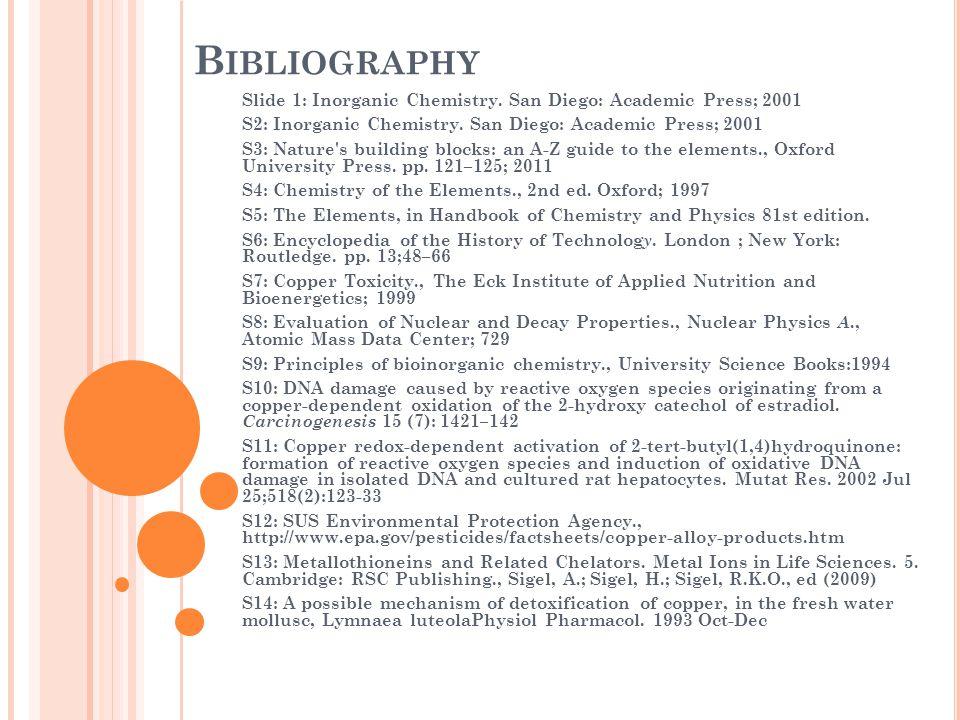 B IBLIOGRAPHY Slide 1: Inorganic Chemistry.