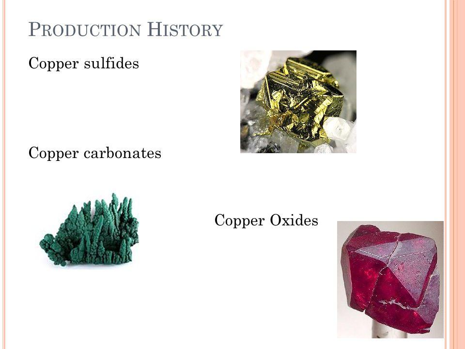 P RODUCTION H ISTORY Copper sulfides Copper carbonates Copper Oxides