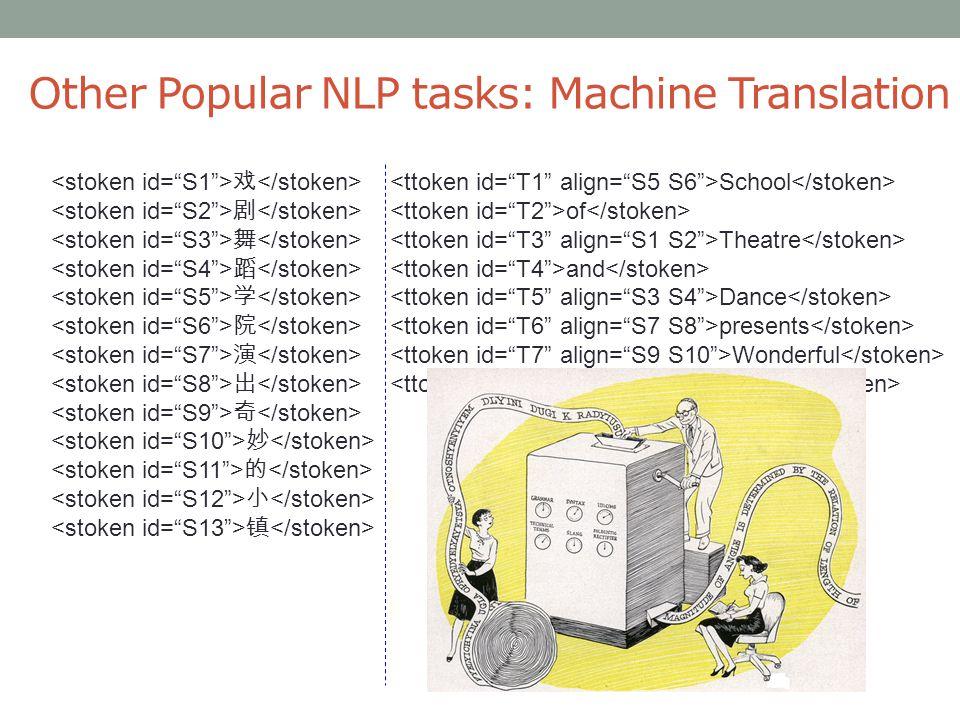 Other Popular NLP tasks: Machine Translation 戏 School 剧 of 舞 Theatre 蹈 and 学 Dance 院 presents 演 Wonderful 出 town 奇 妙 的 小 镇