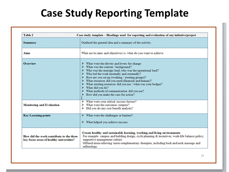 Case Study Reporting Template