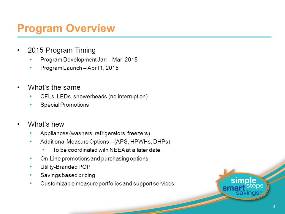 Program Overview 2015 Program Timing Program Development Jan – Mar 2015 Program Launch – April 1, 2015 What s the same CFLs, LEDs, showerheads (no interruption) Special Promotions What s new Appliances (washers, refrigerators, freezers) Additional Measure Options – (APS, HPWHs, DHPs) To be coordinated with NEEA at a later date On-Line promotions and purchasing options Utility-Branded POP Savings based pricing Customizable measure portfolios and support services 2