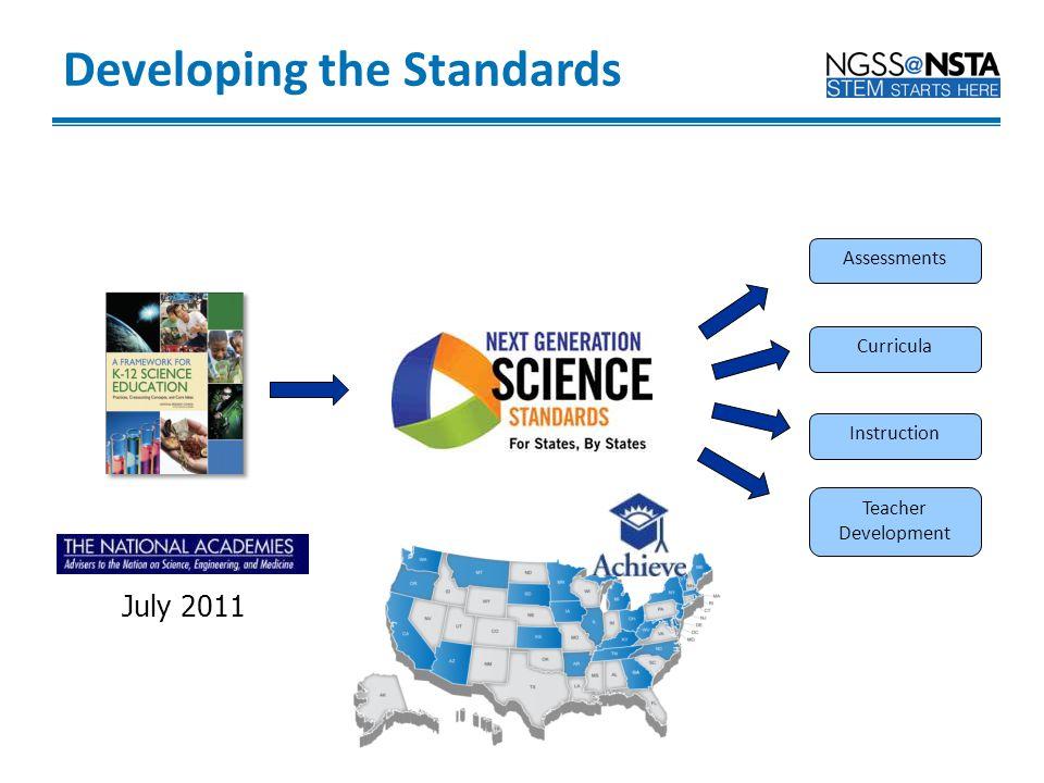 Instruction Curricula Assessments Teacher Development 2011-2013 July 2011 Developing the Standards
