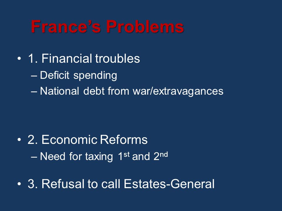 France's Problems 1.Financial troubles –Deficit spending –National debt from war/extravagances 2.