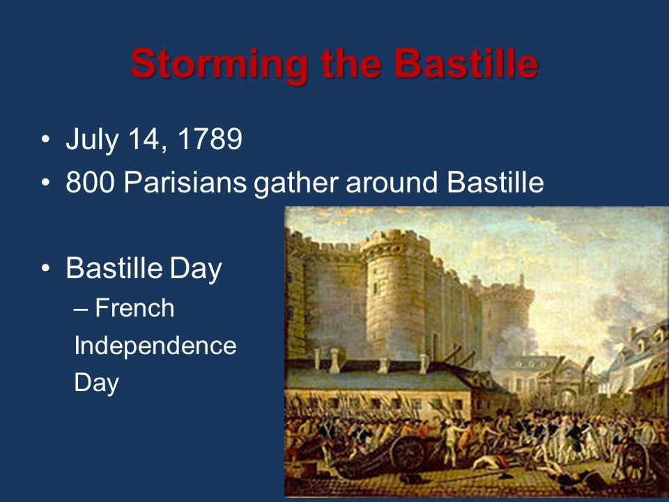 Storming the Bastille July 14, 1789 800 Parisians gather around Bastille Bastille Day –French Independence Day
